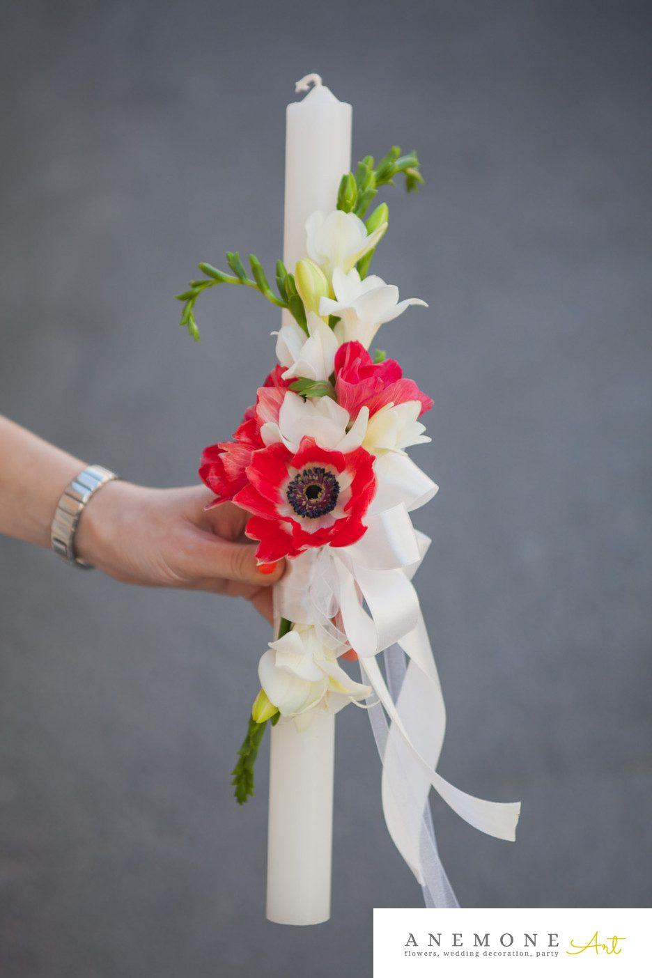 Poza, foto cu Flori de nunta frezii, lumanare botez in Arad, Timisoara, Oradea (wedding flowers, bouquets) nunta Arad