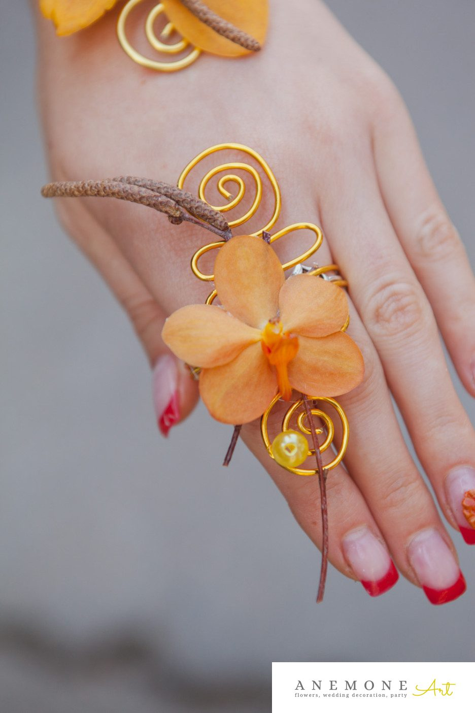 Poza, foto cu Flori de nunta bratara, galben, orhidee, vanda in Arad, Timisoara, Oradea (wedding flowers, bouquets) nunta Arad, Timisoara, Oradea