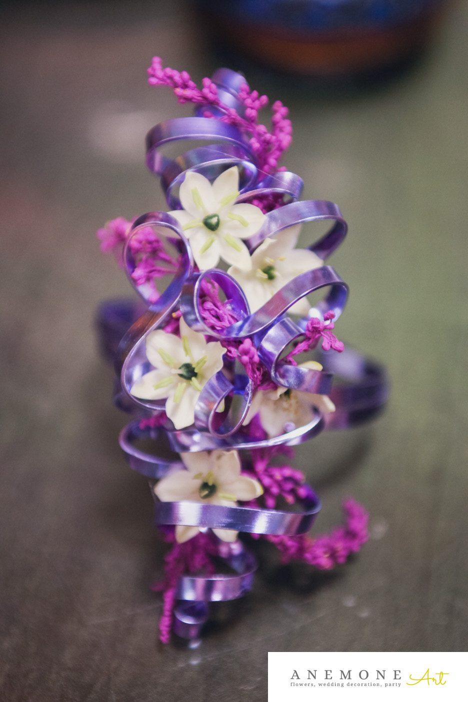 Poza, foto cu Flori de nunta bratara, mov, ornitogallum in Arad, Timisoara, Oradea (wedding flowers, bouquets) nunta Arad, Timisoara, Oradea