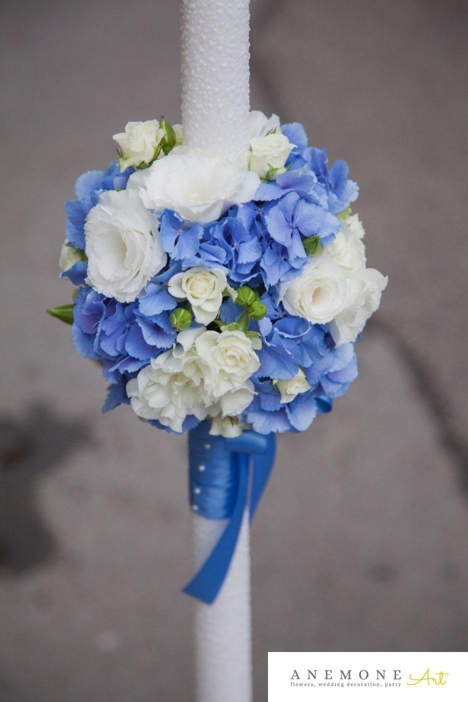 Poza, foto cu Flori de nunta albastru, lumanare botez in Arad, Timisoara, Oradea (wedding flowers, bouquets) nunta Arad, Timisoara, Oradea