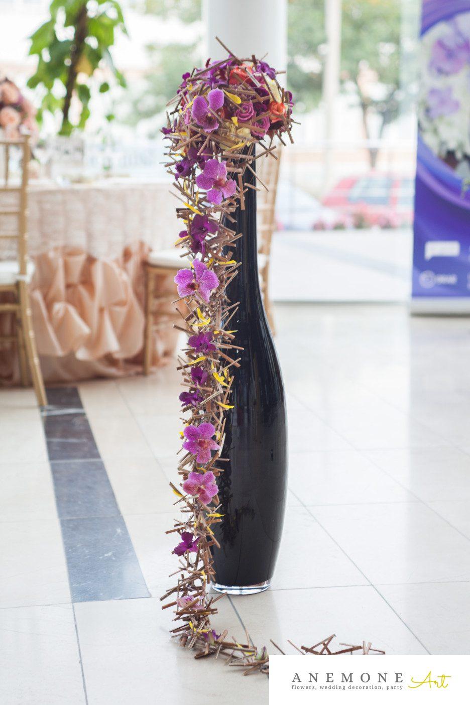 Poza, foto cu Flori de nunta buchet mireasa, curgator, mov, orhidee, ticlam in Arad, Timisoara, Oradea (wedding flowers, bouquets) nunta Arad, Timisoara, Oradea