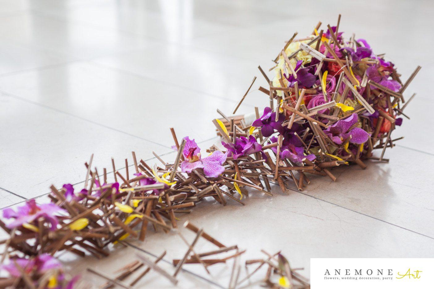 Poza, foto cu Flori de nunta buchet mireasa, crengi, mov, orhidee, rustic, vanda in Arad, Timisoara, Oradea (wedding flowers, bouquets) nunta Arad, Timisoara, Oradea