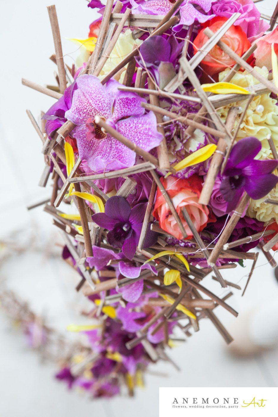 Poza, foto cu Flori de nunta buchet mireasa, curgator, detaliu, mov, orhidee, ticlam in Arad, Timisoara, Oradea (wedding flowers, bouquets) nunta Arad, Timisoara, Oradea
