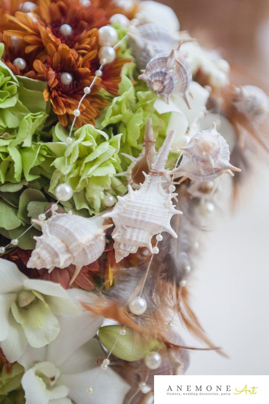 Poza, foto cu Flori de nunta buchet mireasa, curgator, detaliu, maro, pene, perle, scoici, verde in Arad, Timisoara, Oradea (wedding flowers, bouquets) nunta Arad, Timisoara, Oradea