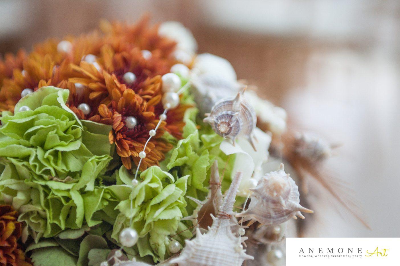 Poza, foto cu Flori de nunta buchet mireasa, curgator, maro, pene, perle, scoici, verde in Arad, Timisoara, Oradea (wedding flowers, bouquets) nunta Arad, Timisoara, Oradea