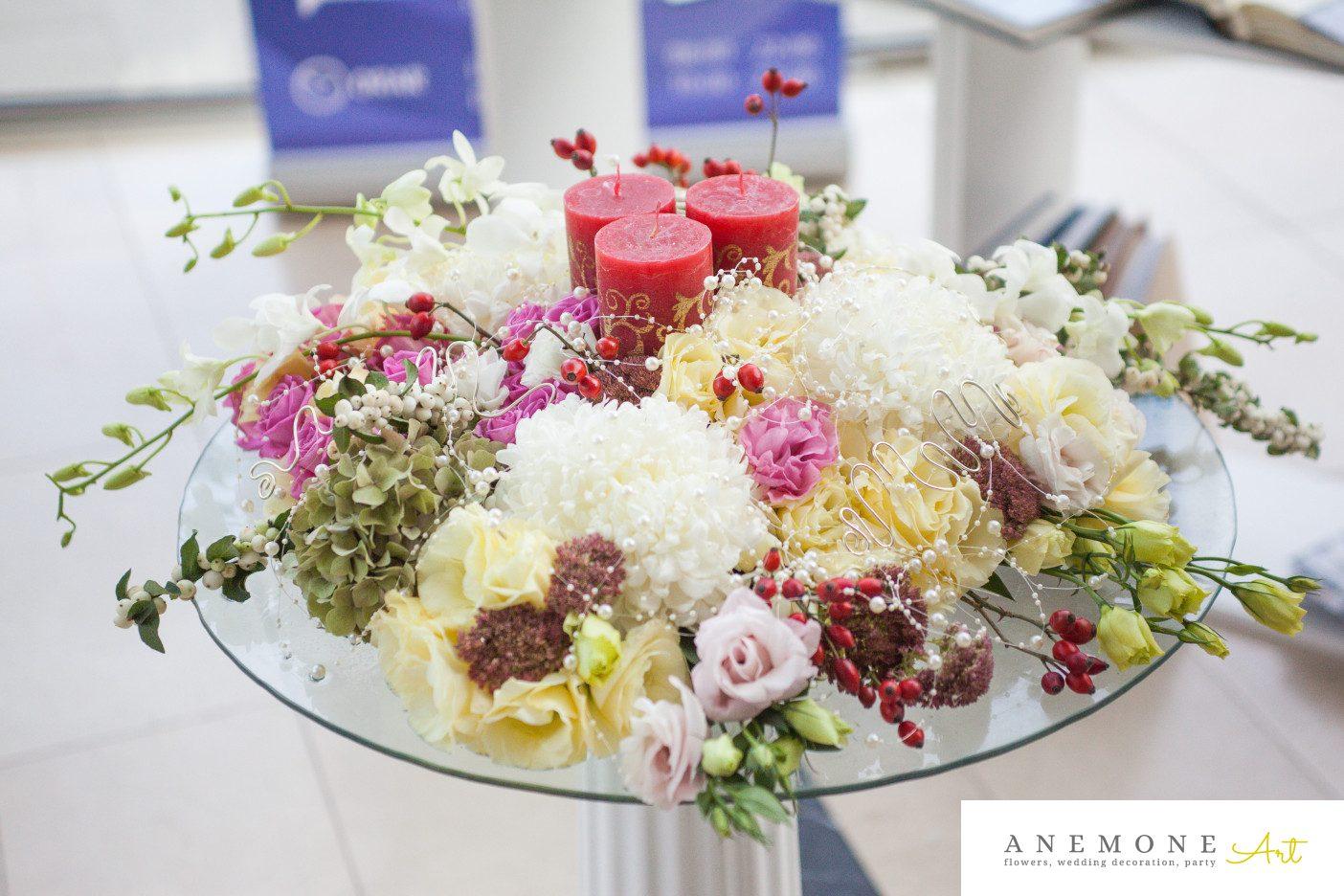 Poza, foto cu Flori de nunta decor masa, decor sala, lumanare in Arad, Timisoara, Oradea (wedding flowers, bouquets) nunta Arad, Timisoara, Oradea