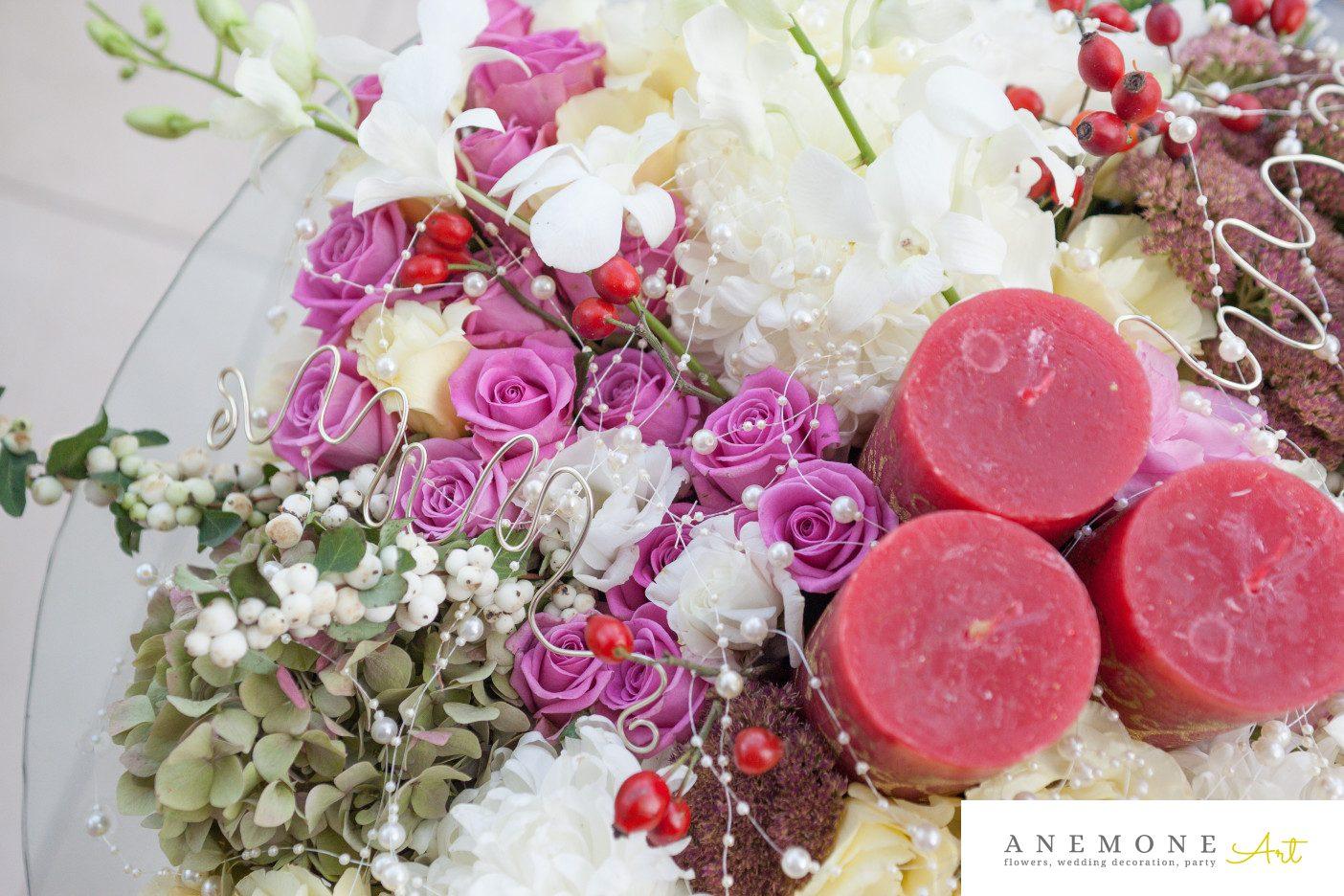 Poza, foto cu Flori de nunta decor masa, decor sala, detaliu, lumanare in Arad, Timisoara, Oradea (wedding flowers, bouquets) nunta Arad, Timisoara, Oradea