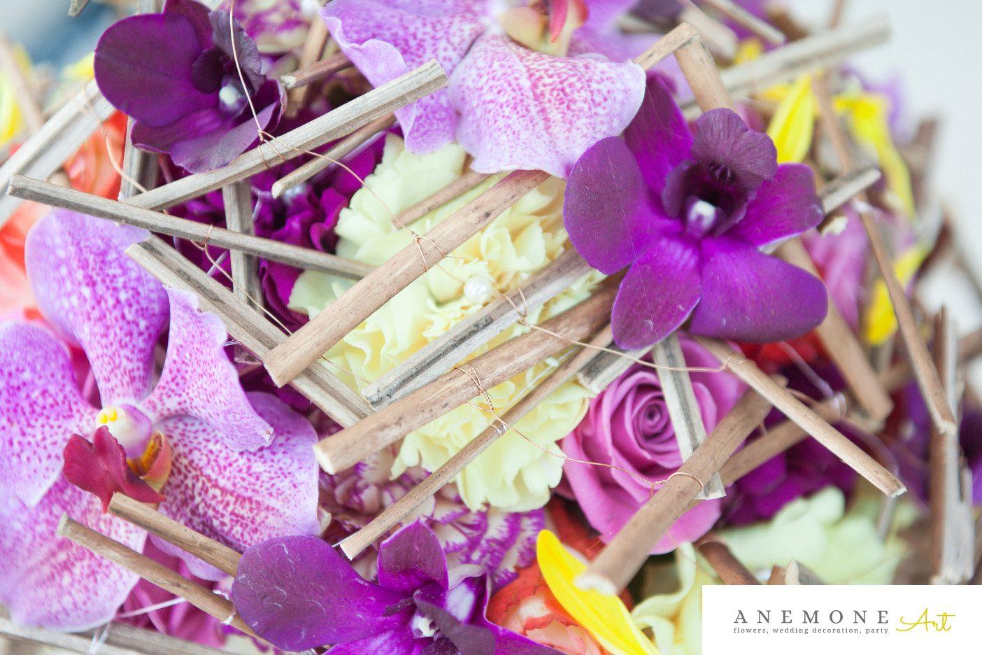Poza, foto cu Flori de nunta buchet mireasa, crengi, detaliu, orhidee, rustic, vanda in Arad, Timisoara, Oradea (wedding flowers, bouquets) nunta Arad, Timisoara, Oradea