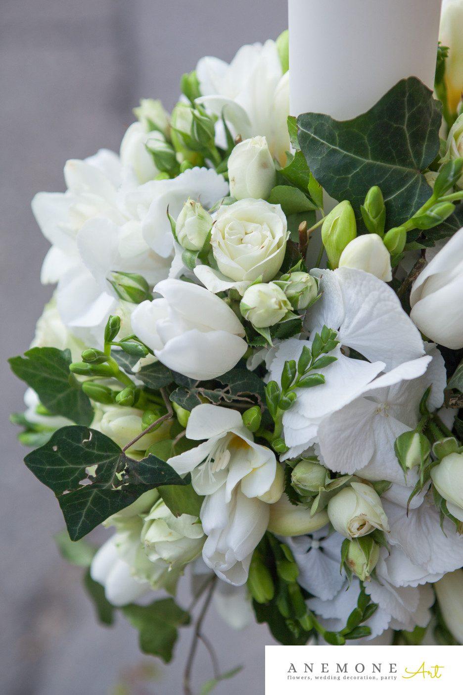 Poza, foto cu Flori de nunta frezii, lumanare cununie in Arad, Timisoara, Oradea (wedding flowers, bouquets) nunta Arad, Timisoara, Oradea