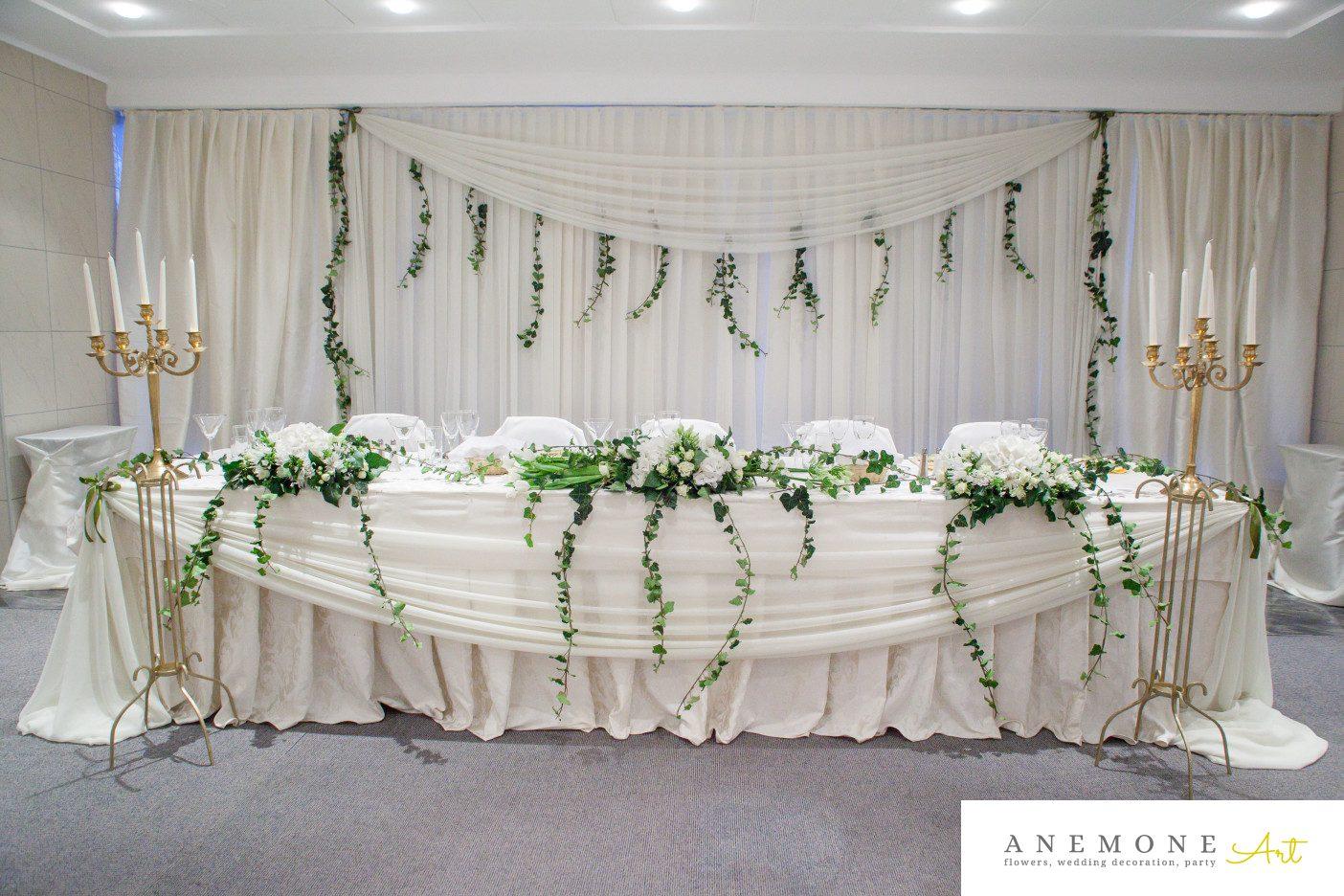 Poza, foto cu Flori de nunta alb, decor sala, prezidiu in Arad, Timisoara, Oradea (wedding flowers, bouquets) nunta Arad, Timisoara, Oradea