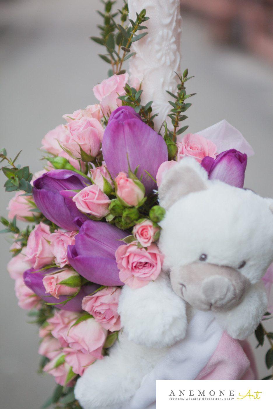 Poza, foto cu Flori de nunta lumanare botez, roz in Arad, Timisoara, Oradea (wedding flowers, bouquets) nunta Arad, Timisoara, Oradea