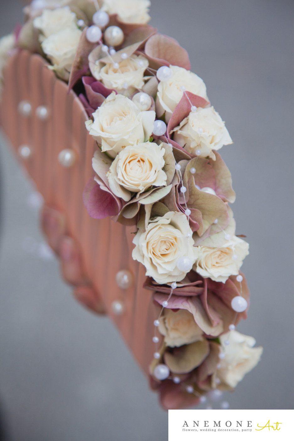 Poza, foto cu Flori de nunta crem, mini-rosa, perle, poseta, roz in Arad, Timisoara, Oradea (wedding flowers, bouquets) nunta Arad, Timisoara, Oradea