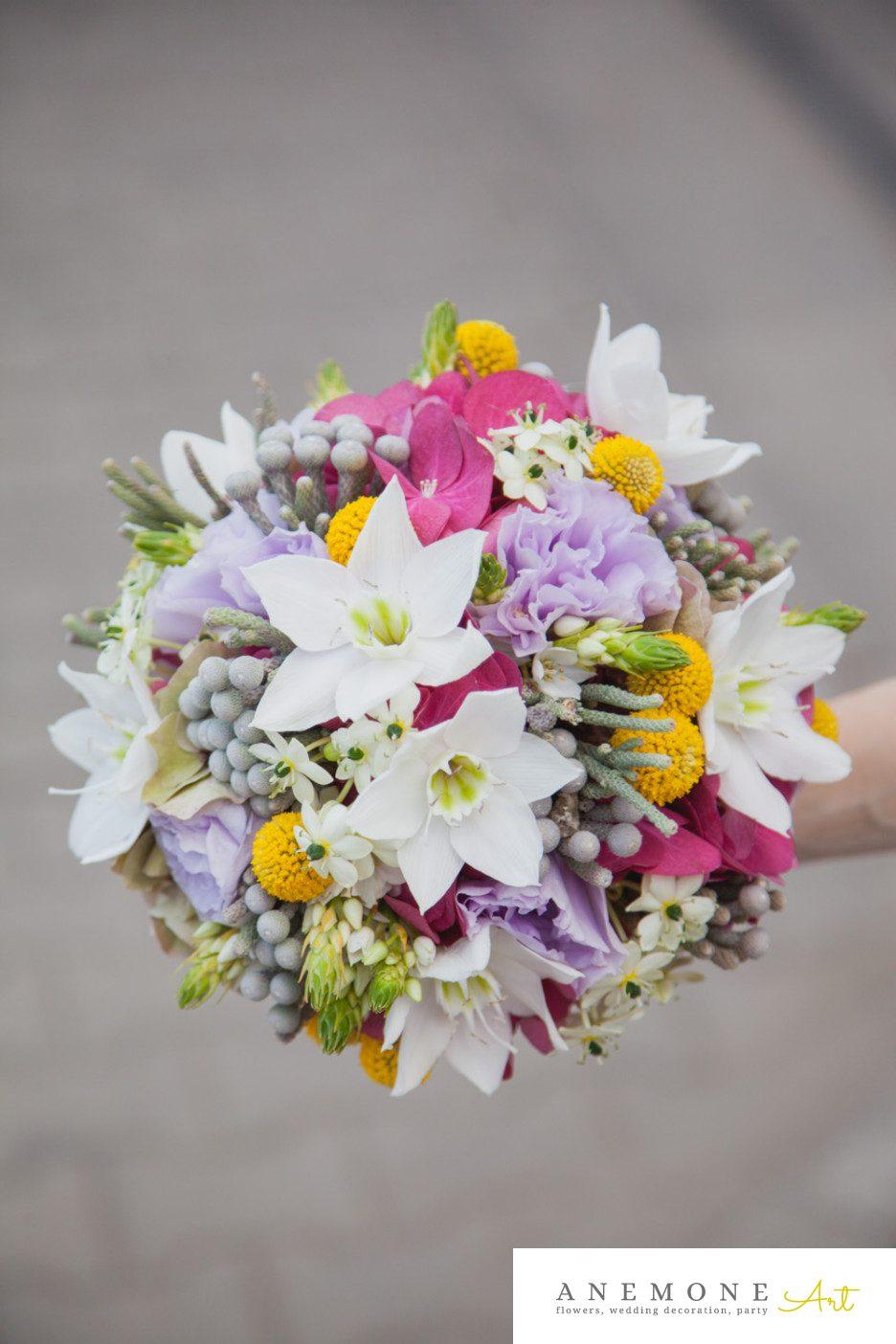 Poza, foto cu Flori de nunta brunia, buchet mireasa, craspedia, eucharis, multicolor, ornitogallum in Arad, Timisoara, Oradea (wedding flowers, bouquets) nunta Arad, Timisoara, Oradea
