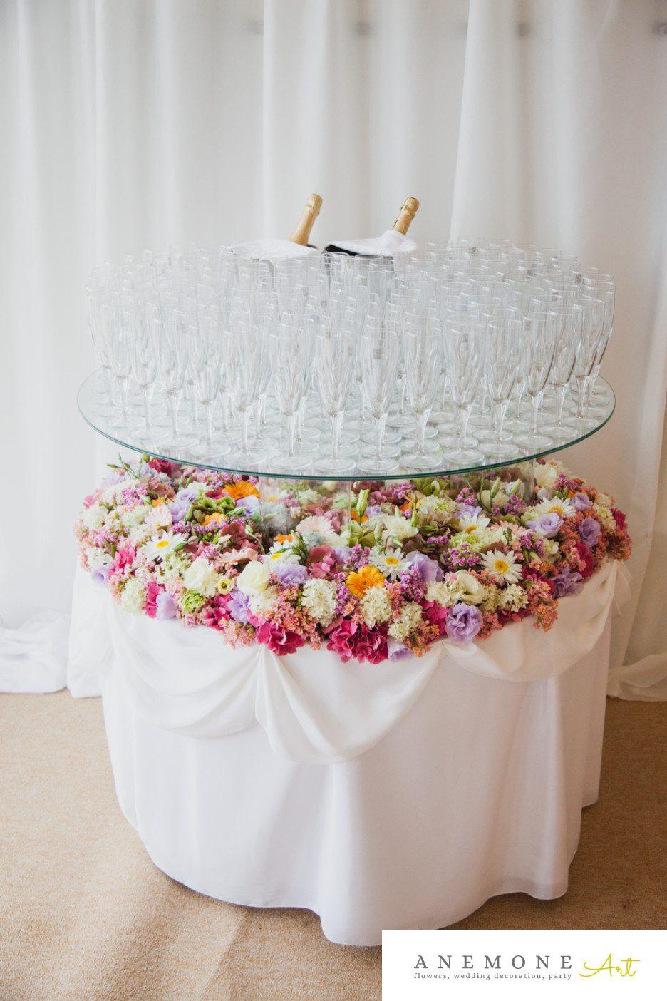 Poza, foto cu Flori de nunta decor sala, masa sampanie in Arad, Timisoara, Oradea (wedding flowers, bouquets) nunta Arad