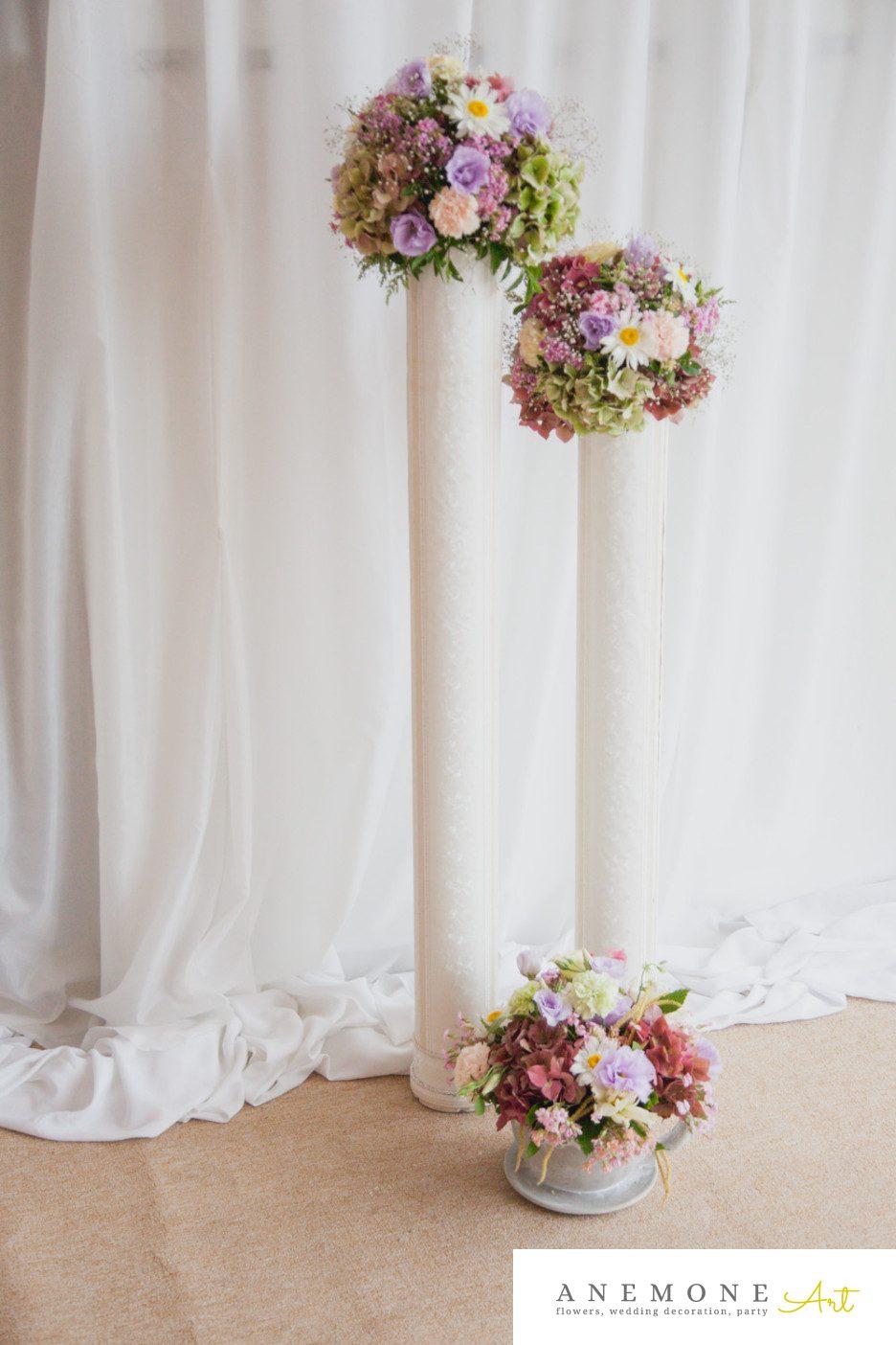 Poza, foto cu Flori de nunta decor sala, multicolor, stalp in Arad, Timisoara, Oradea (wedding flowers, bouquets) nunta Arad, Timisoara, Oradea
