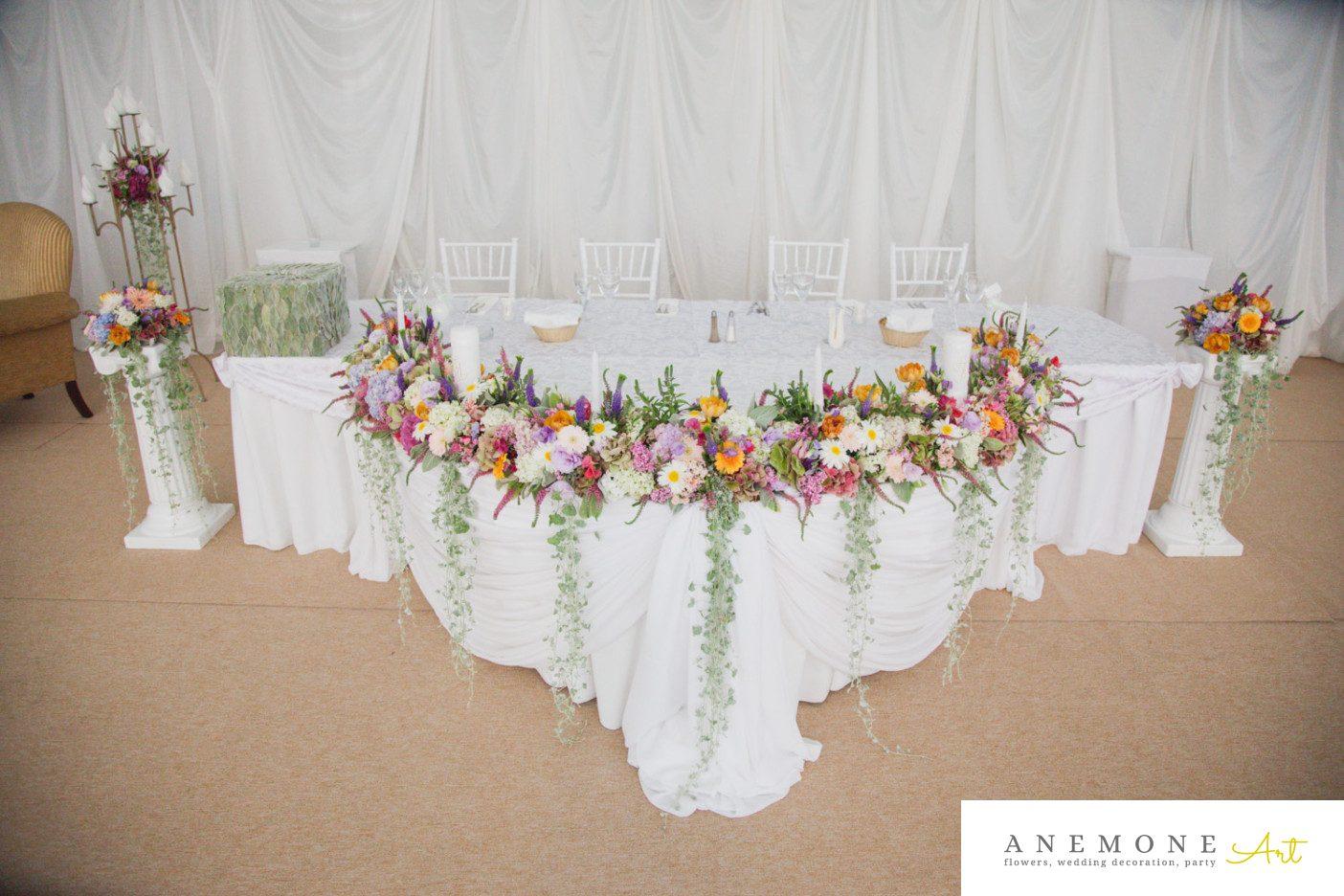 Poza, foto cu Flori de nunta multicolor, prezidiu, stalp ceramica in Arad, Timisoara, Oradea (wedding flowers, bouquets) nunta Arad, Timisoara, Oradea