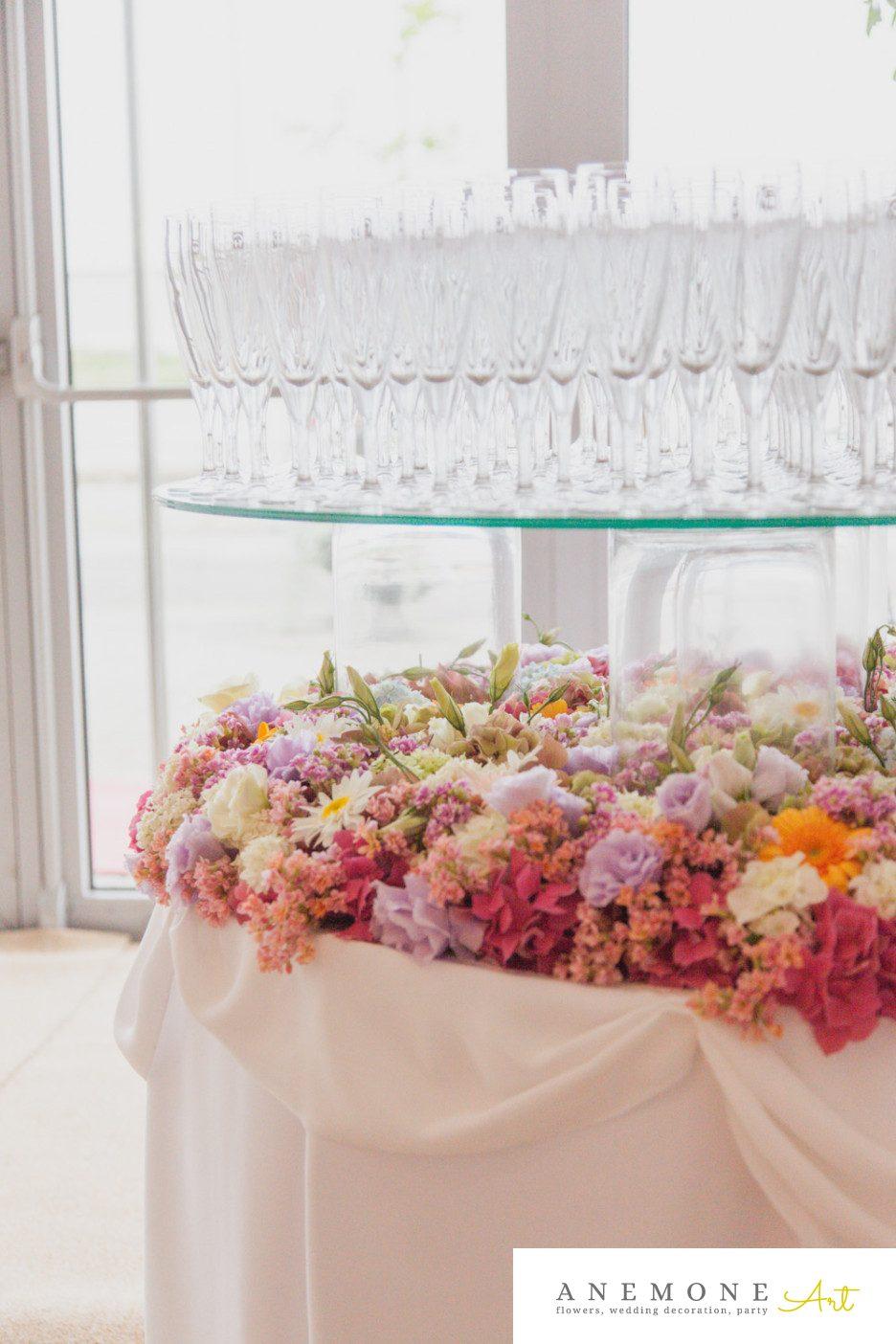 Poza, foto cu Flori de nunta decor sala, masa sampanie in Arad, Timisoara, Oradea (wedding flowers, bouquets) nunta Arad, Timisoara, Oradea
