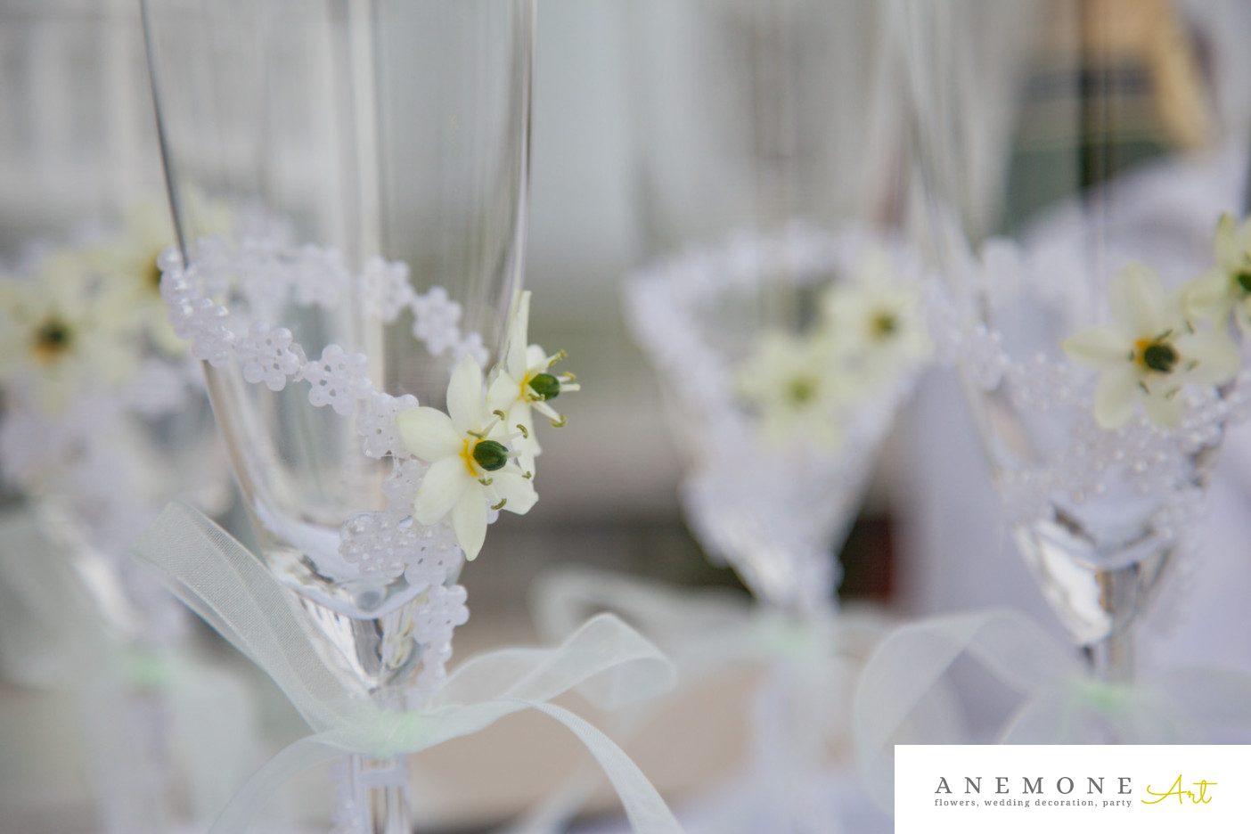 Poza, foto cu Flori de nunta decor sala, pahare in Arad, Timisoara, Oradea (wedding flowers, bouquets) nunta Arad