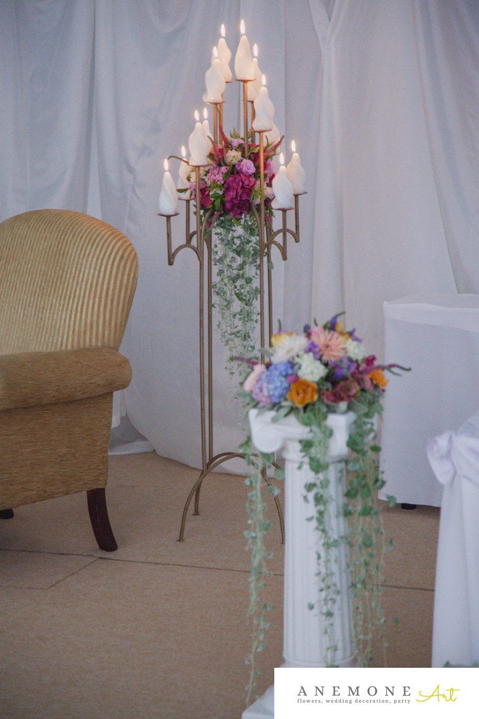 Poza, foto cu Flori de nunta decor sala, sfesnic in Arad, Timisoara, Oradea (wedding flowers, bouquets) nunta Arad, Timisoara, Oradea