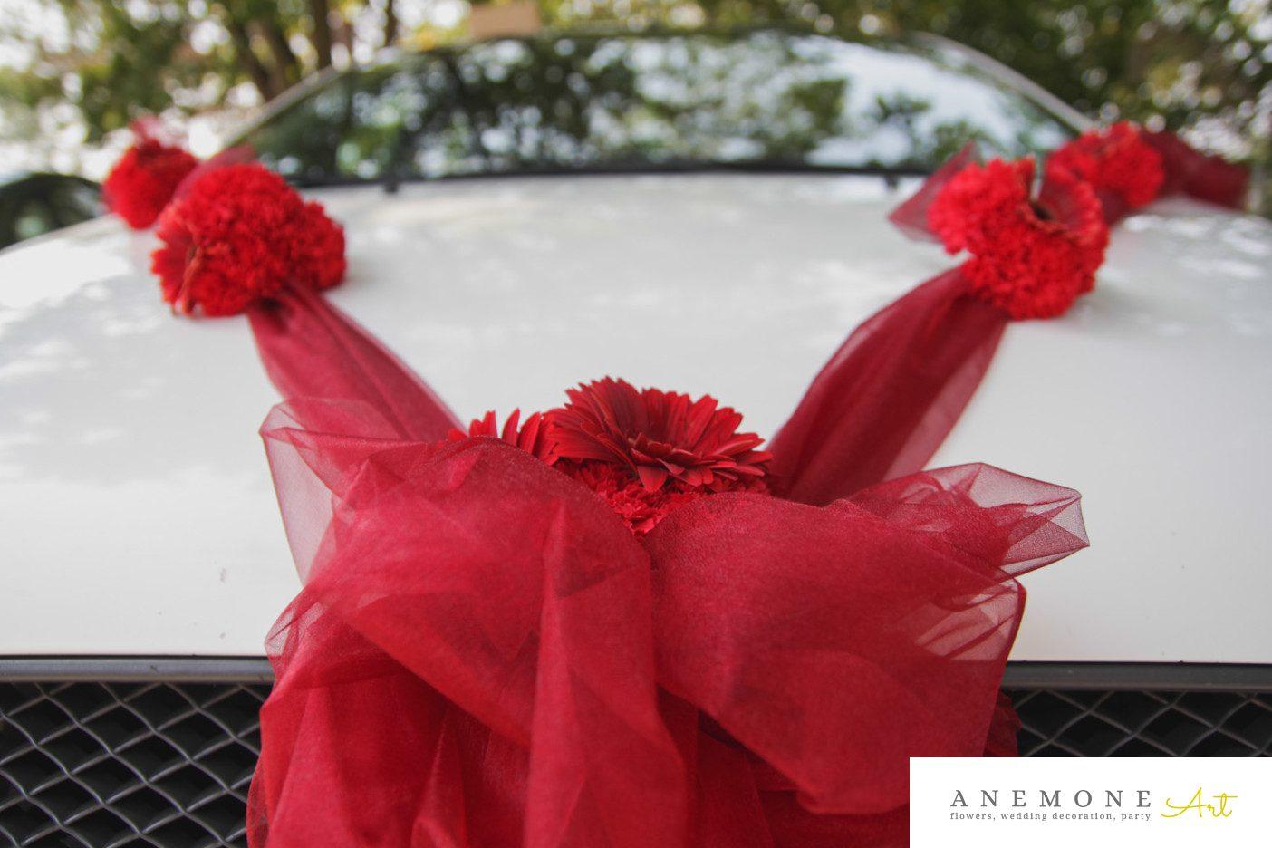 Poza, foto cu Flori de nunta decor masina in Arad, Timisoara, Oradea (wedding flowers, bouquets) nunta Arad