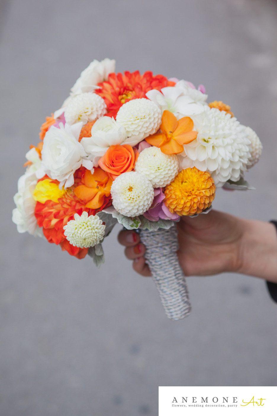 Poza, foto cu Flori de nunta buchet mireasa, dalia, orhidee, portocaliu in Arad, Timisoara, Oradea (wedding flowers, bouquets) nunta Arad, Timisoara, Oradea