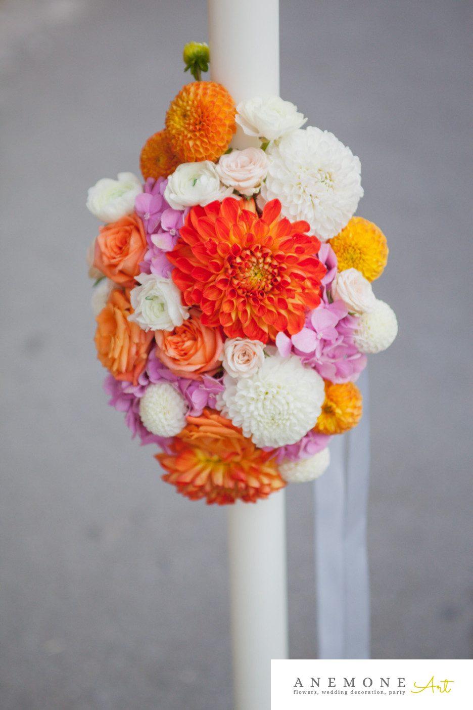 Poza, foto cu Flori de nunta dalia, lumanare cununie, portocaliu, ranunculus in Arad, Timisoara, Oradea (wedding flowers, bouquets) nunta Arad, Timisoara, Oradea