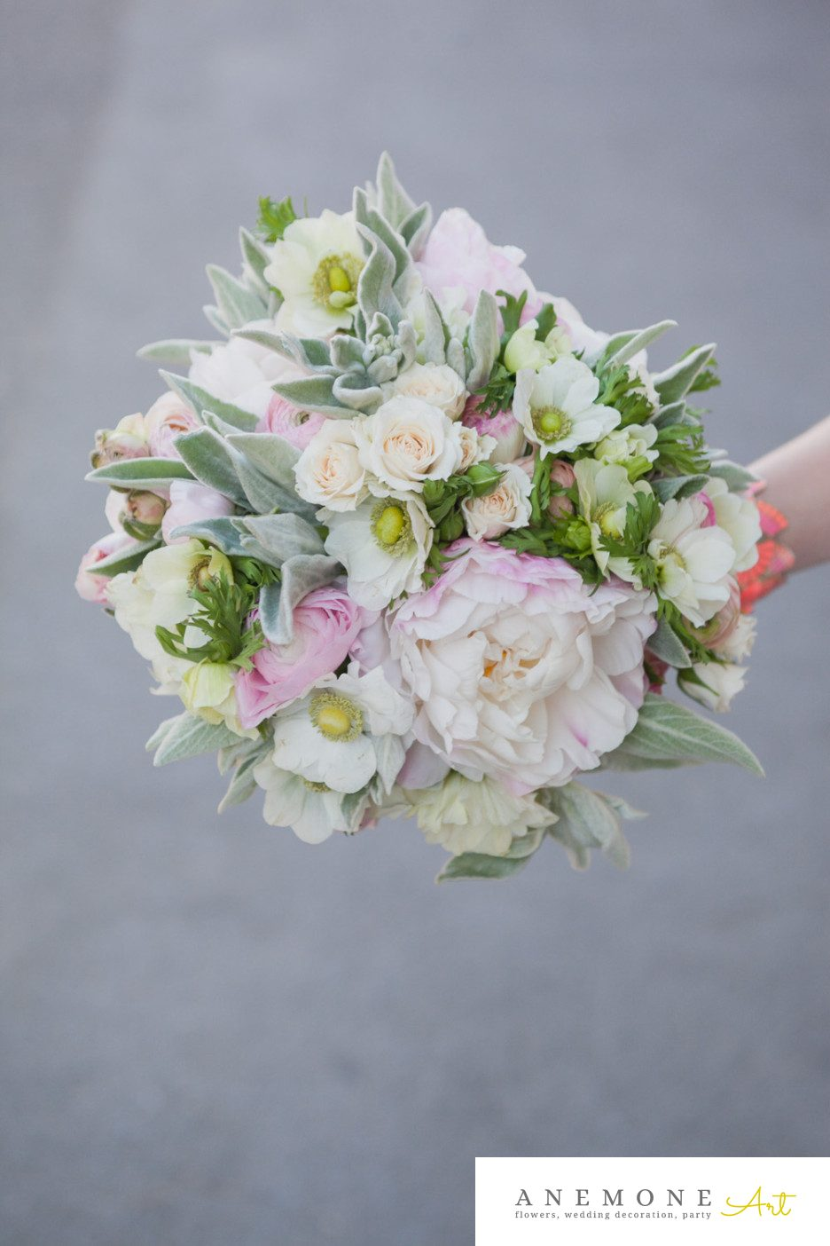 Poza, foto cu Flori de nunta anemone, buchet nasa, bujori, roz, verde mint in Arad, Timisoara, Oradea (wedding flowers, bouquets) nunta Arad, Timisoara, Oradea