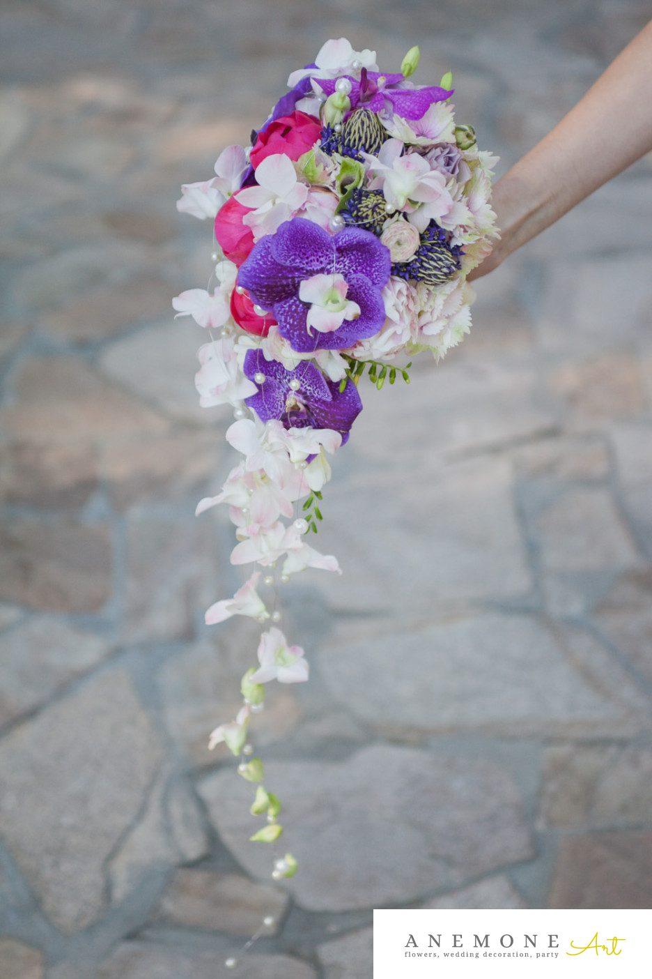 Poza, foto cu Flori de nunta buchet mireasa, mov, orhidee, perle, vanda in Arad, Timisoara, Oradea (wedding flowers, bouquets) nunta Arad, Timisoara, Oradea