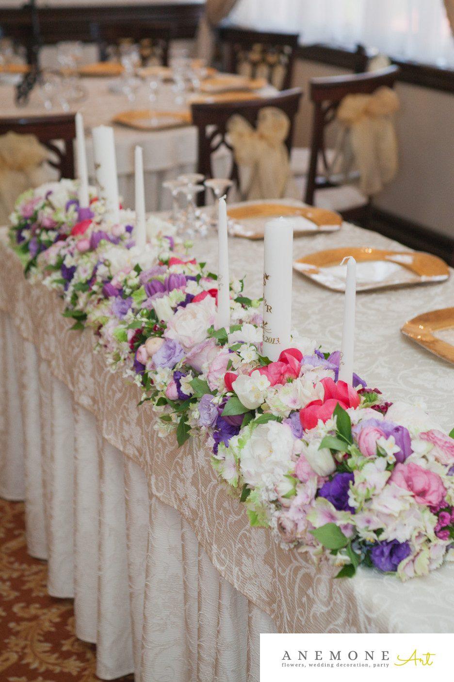 Poza, foto cu Flori de nunta lumanare, mov, prezidiu, roz in Arad, Timisoara, Oradea (wedding flowers, bouquets) nunta Arad, Timisoara, Oradea