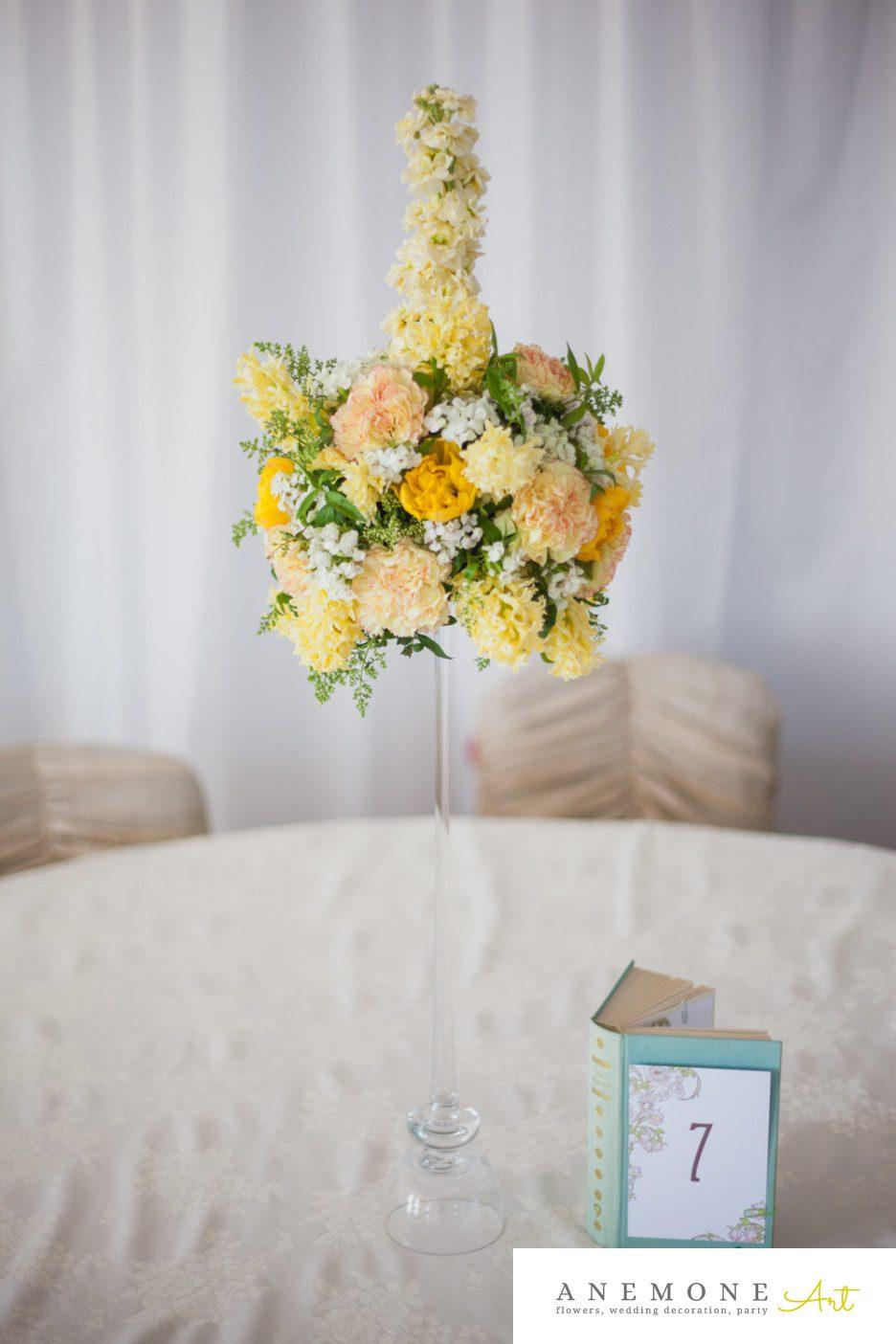 Poza, foto cu Flori de nunta decor masa, galben in Arad, Timisoara, Oradea (wedding flowers, bouquets) nunta Arad, Timisoara, Oradea