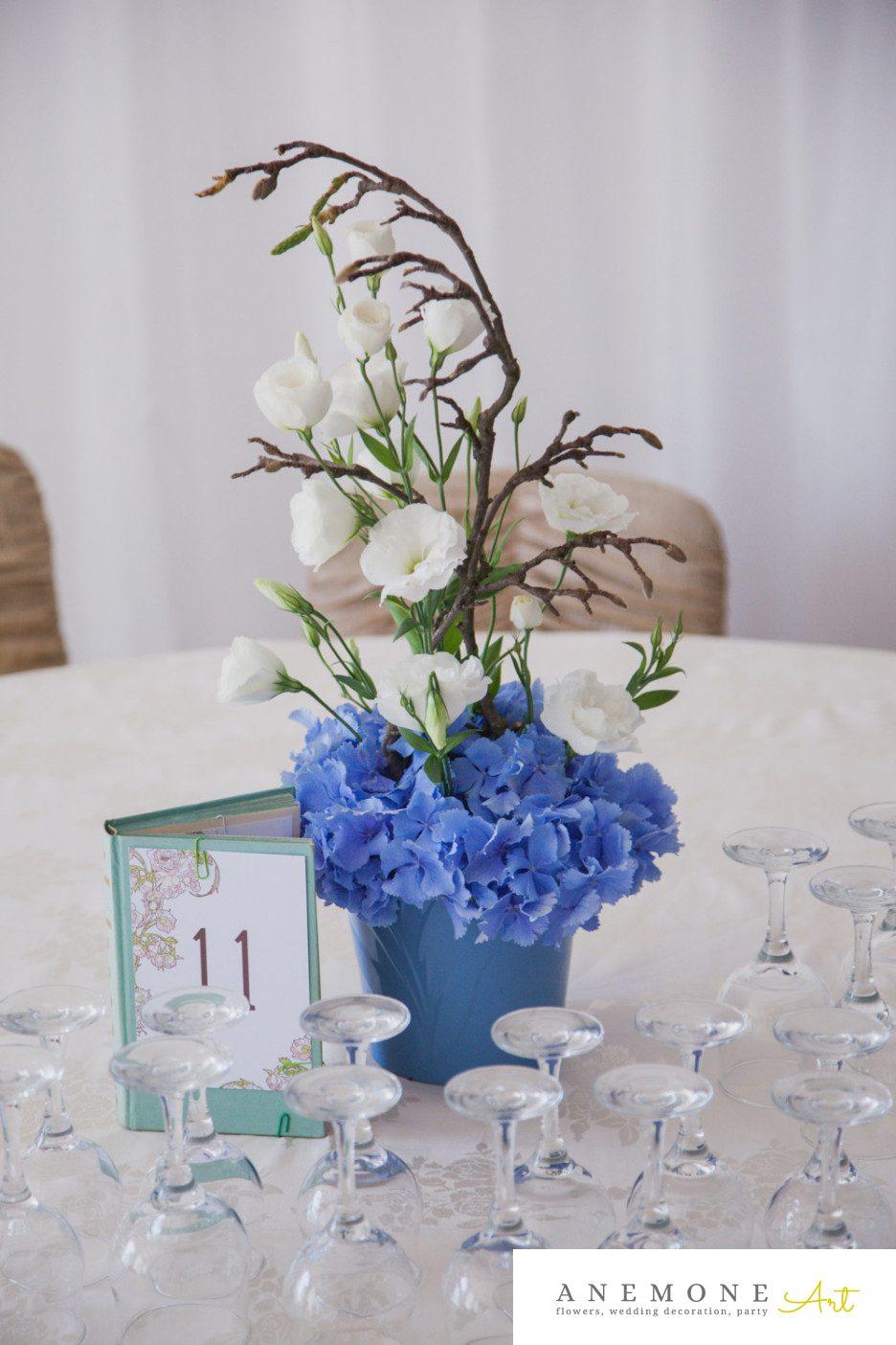 Poza, foto cu Flori de nunta albastru, decor masa in Arad, Timisoara, Oradea (wedding flowers, bouquets) nunta Arad, Timisoara, Oradea