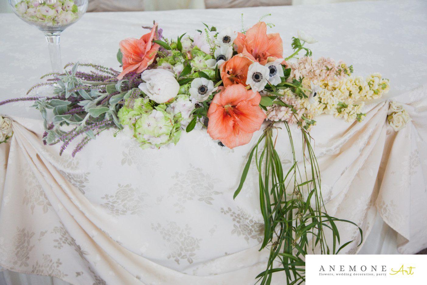 Poza, foto cu Flori de nunta piersica, prezidiu in Arad, Timisoara, Oradea (wedding flowers, bouquets) nunta Arad, Timisoara, Oradea