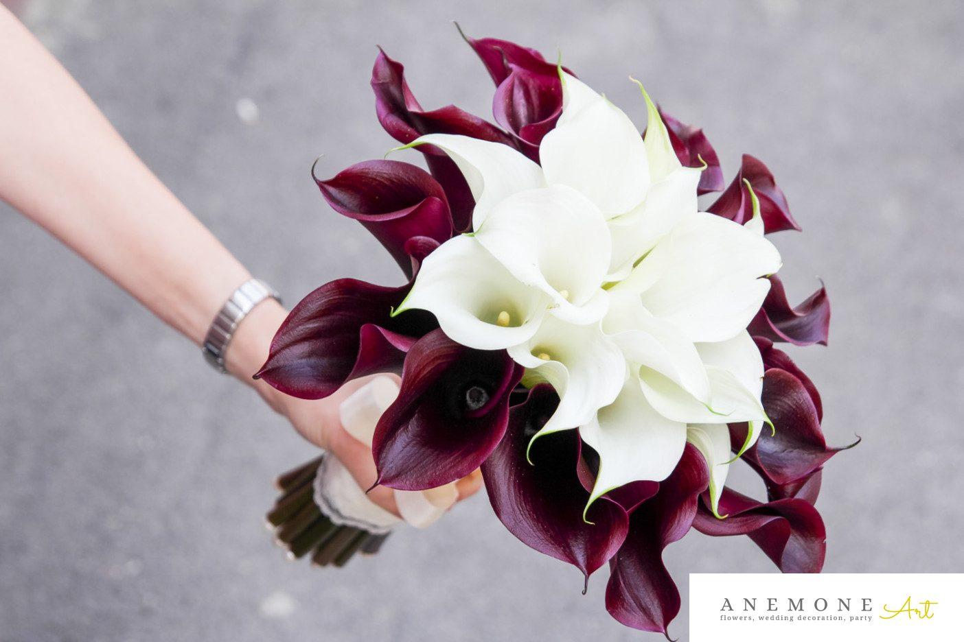 Poza, foto cu Flori de nunta buchet mireasa, calla, visiniu in Arad, Timisoara, Oradea (wedding flowers, bouquets) nunta Arad, Timisoara, Oradea