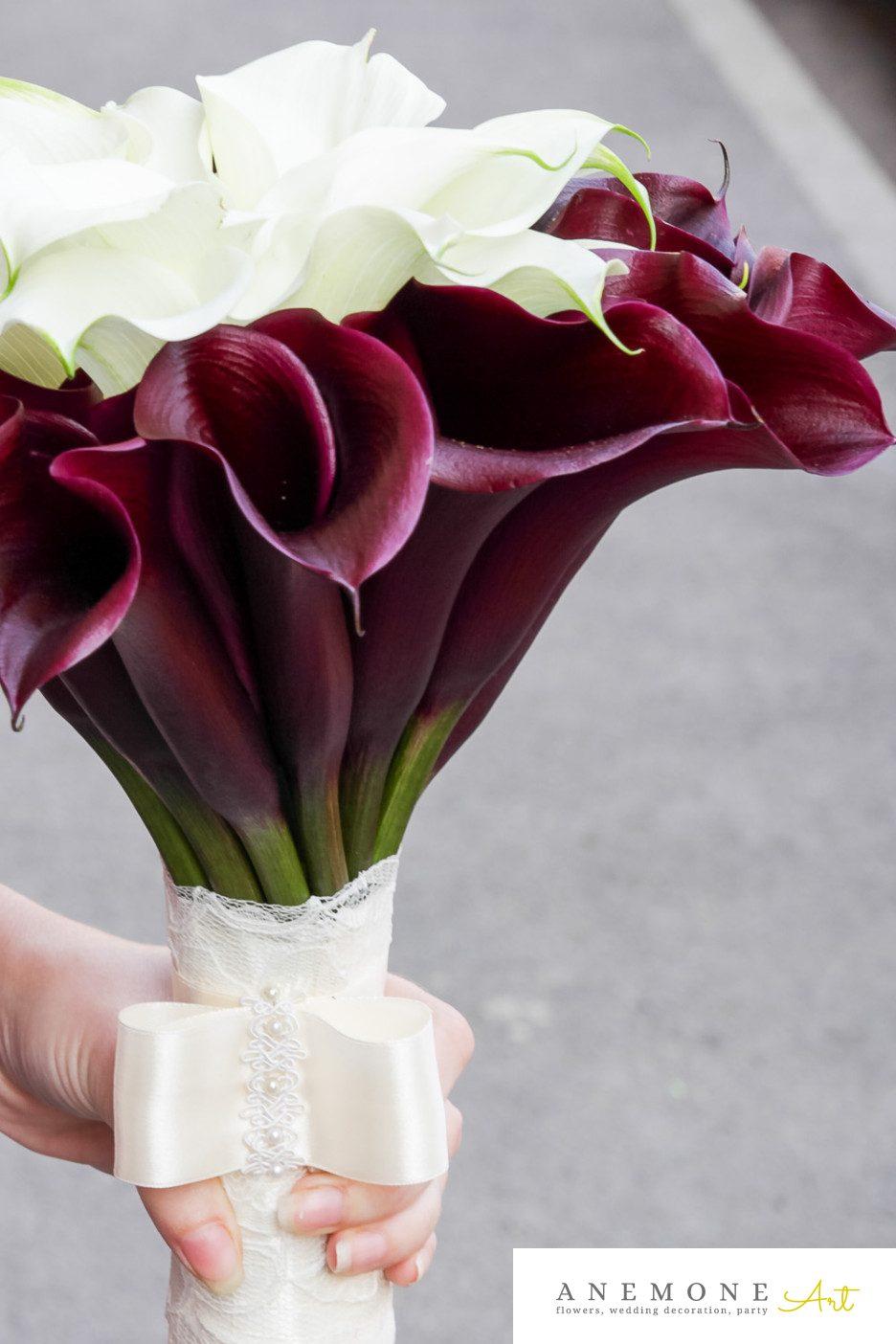 Poza, foto cu Flori de nunta buchet mireasa, calla, maner buchet, visiniu in Arad, Timisoara, Oradea (wedding flowers, bouquets) nunta Arad, Timisoara, Oradea