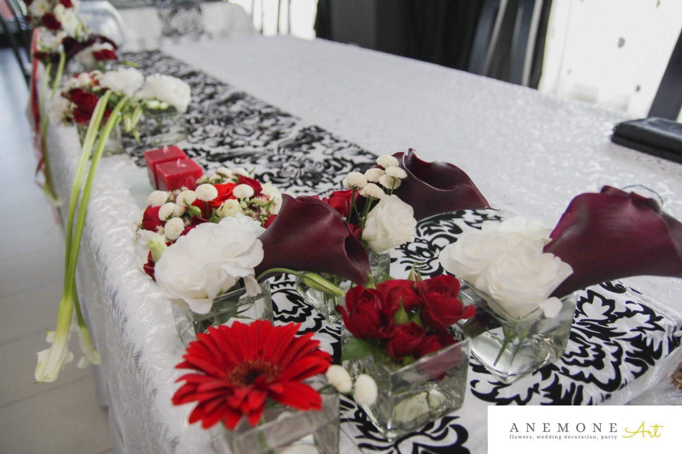 Poza, foto cu Flori de nunta calla, prezidiu, rosu, visiniu in Arad, Timisoara, Oradea (wedding flowers, bouquets) nunta Arad, Timisoara, Oradea