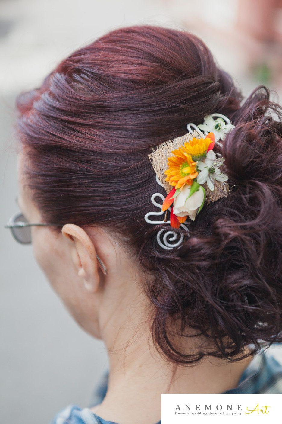 Poza, foto cu Flori de nunta aranjament par, crizanteme, mini-rosa, ornitogallum, portocaliu in Arad, Timisoara, Oradea (wedding flowers, bouquets) nunta Arad, Timisoara, Oradea