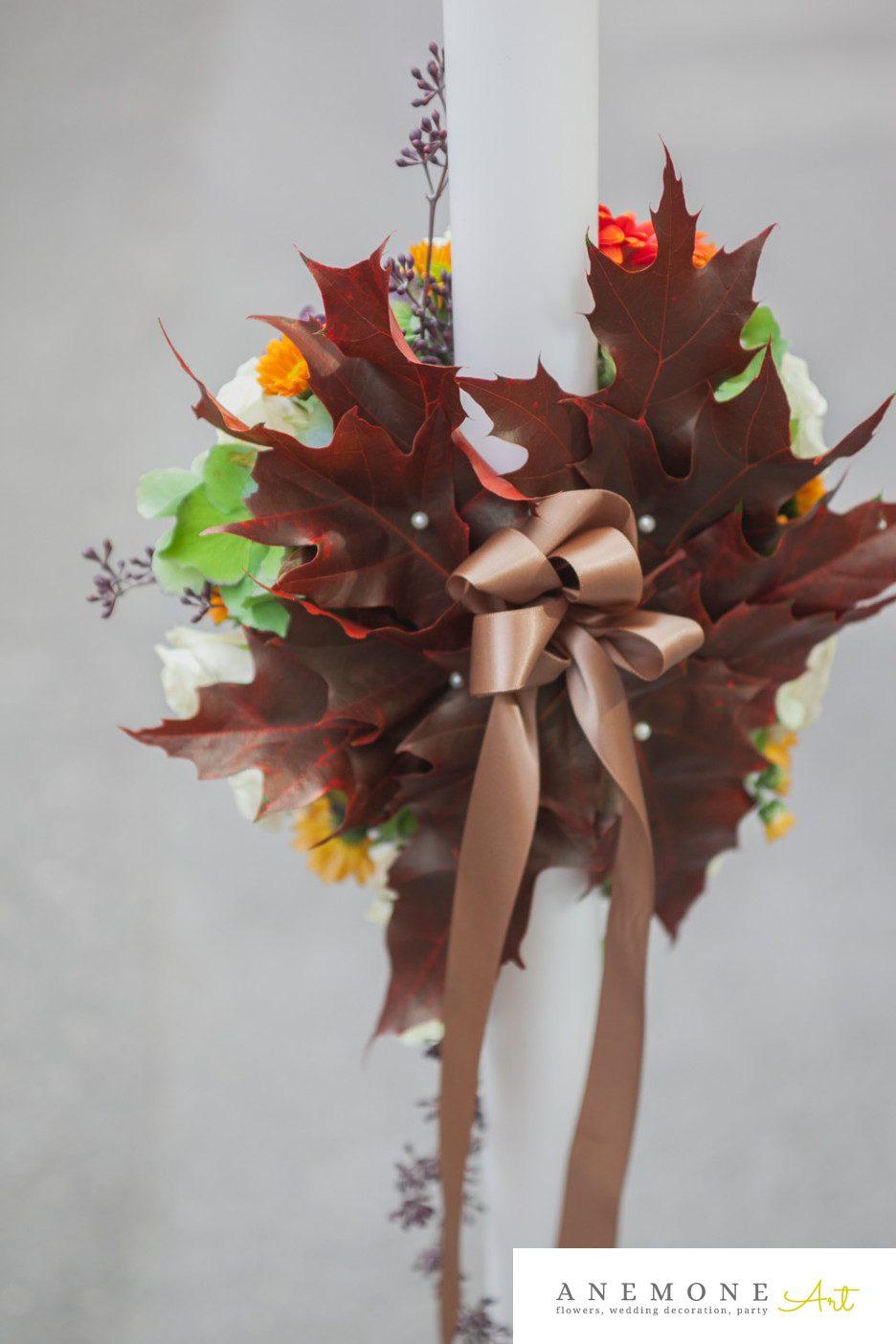 Poza, foto cu Flori de nunta lumanare, maro, toamna in Arad, Timisoara, Oradea (wedding flowers, bouquets) nunta Arad, Timisoara, Oradea