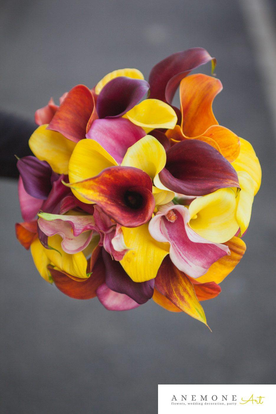 Poza, foto cu Flori de nunta buchet mireasa, calla, galben, multicolor, rotund in Arad, Timisoara, Oradea (wedding flowers, bouquets) nunta Arad, Timisoara, Oradea