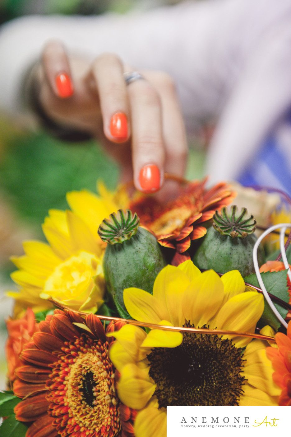 Poza, foto cu Flori de nunta buchet mireasa, celosia, craspedia, floarea soarelui, galben, maci, mini-gerbera, mini-rosa, portocaliu, trandafiri in Arad, Timisoara, Oradea (wedding flowers, bouquets) nunta Arad, Timisoara, Oradea
