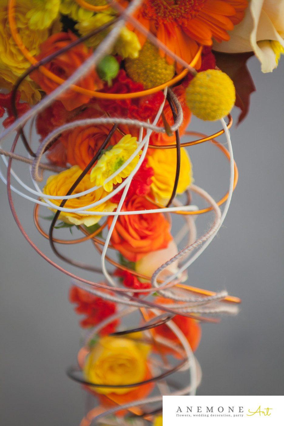 Poza, foto cu Flori de nunta buchet mireasa, celosia, craspedia, crizanteme, galben, maci, mini-gerbera, mini-rosa, portocaliu, trandafiri in Arad, Timisoara, Oradea (wedding flowers, bouquets) nunta Arad, Timisoara, Oradea