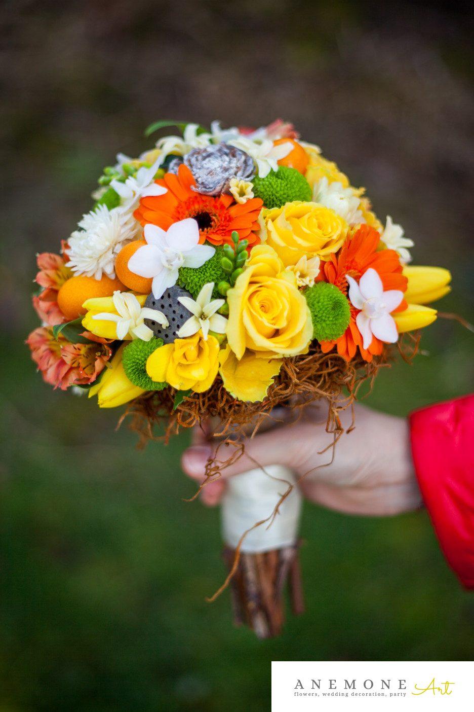 Poza, foto cu Flori de nunta buchet mireasa, galben, lalele, maro, portocaliu, toamna, trandafiri in Arad, Timisoara, Oradea (wedding flowers, bouquets) nunta Arad, Timisoara, Oradea