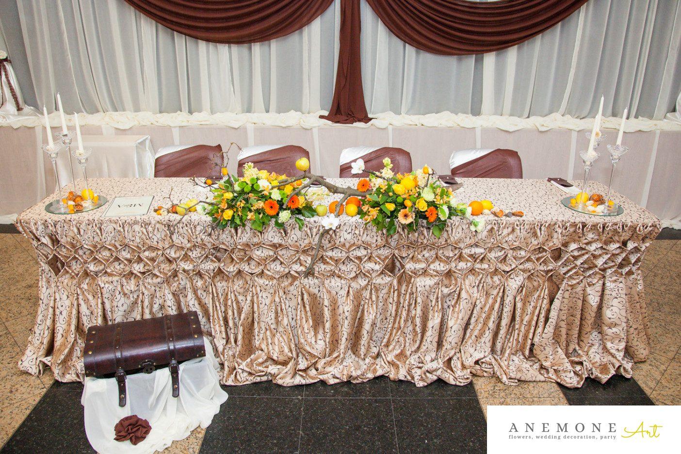 Poza, foto cu Flori de nunta crengi, fructe, maro, portocaliu, prezidiu, toamna in Arad, Timisoara, Oradea (wedding flowers, bouquets) nunta Arad, Timisoara, Oradea