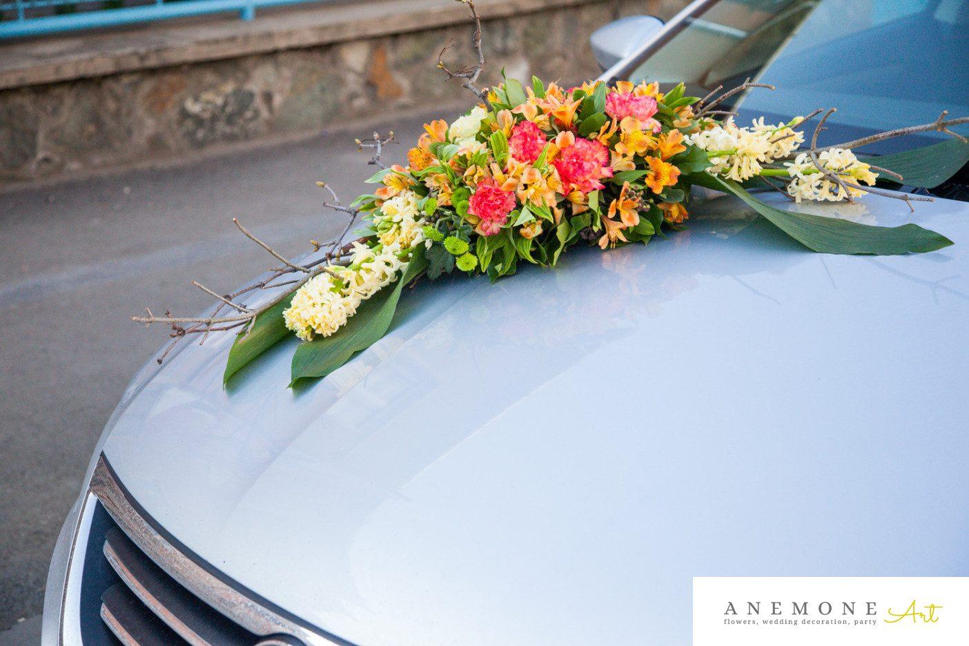 Poza, foto cu Flori de nunta crengi, decor masina, maro, portocaliu, toamna in Arad, Timisoara, Oradea (wedding flowers, bouquets) nunta Arad, Timisoara, Oradea