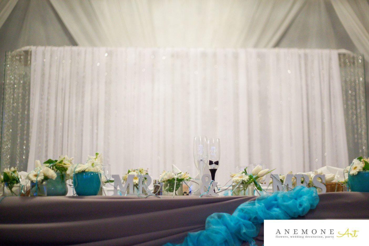 Poza, foto cu Flori de nunta alb, albastru, prezidiu in Arad, Timisoara, Oradea (wedding flowers, bouquets) nunta Arad, Timisoara, Oradea