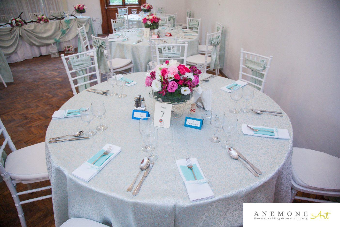 Poza, foto cu Flori de nunta decor masa, roz, ticlam in Arad, Timisoara, Oradea (wedding flowers, bouquets) nunta Arad, Timisoara, Oradea