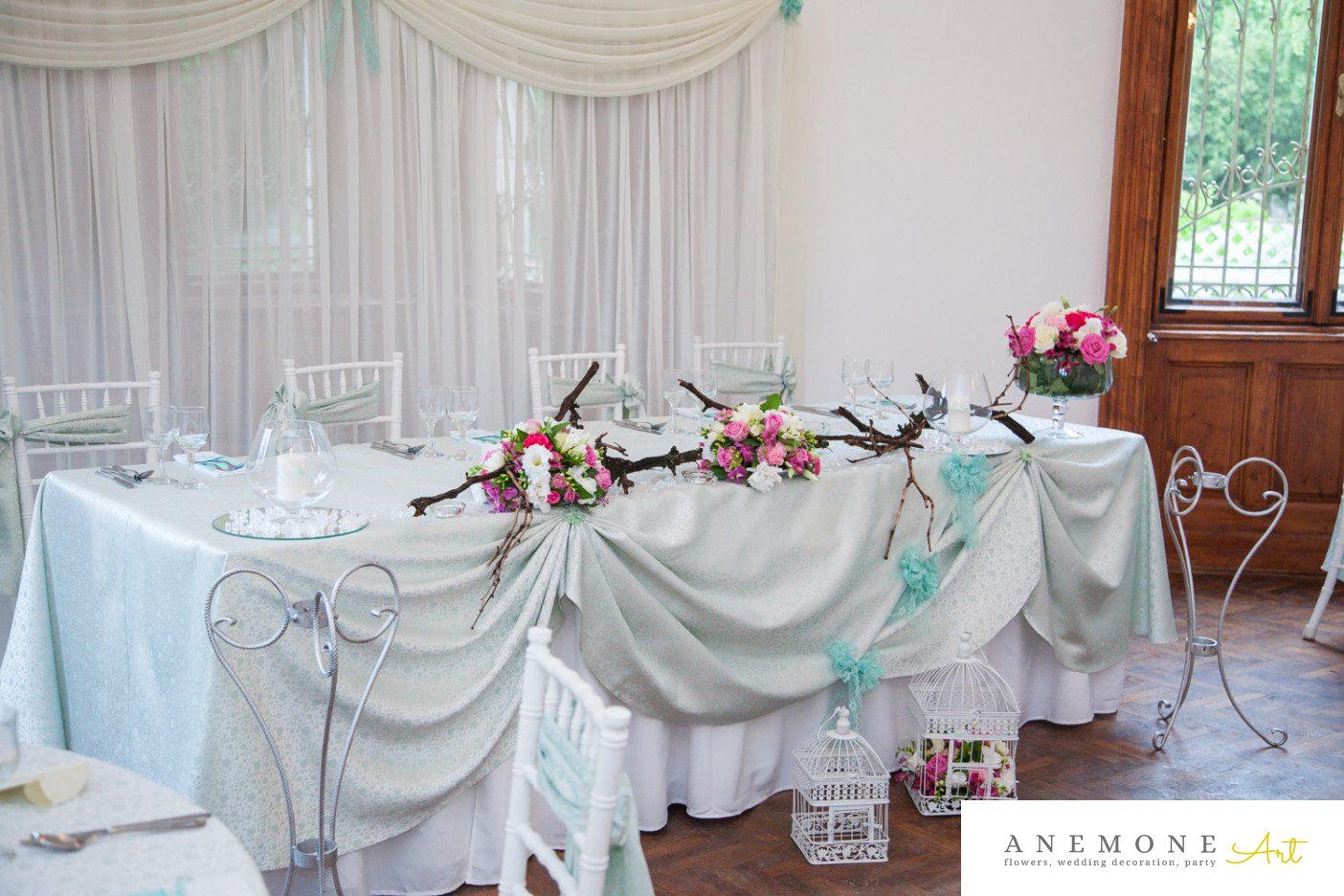 Poza, foto cu Flori de nunta colivie, crengi, prezidiu, roz, ticlam in Arad, Timisoara, Oradea (wedding flowers, bouquets) nunta Arad, Timisoara, Oradea