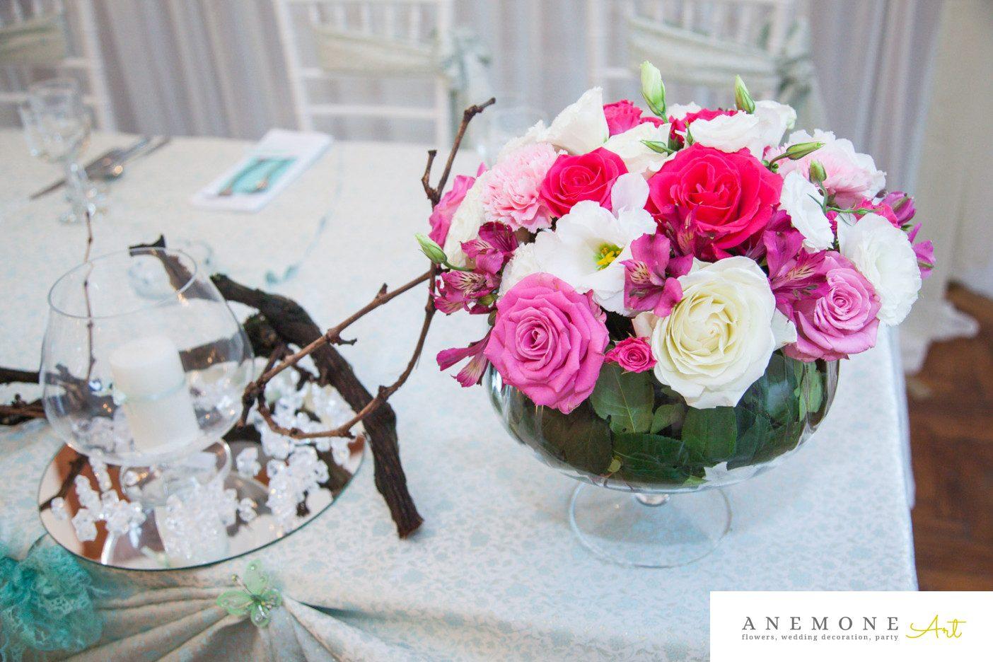 Poza, foto cu Flori de nunta crengi, prezidiu, roz, ticlam in Arad, Timisoara, Oradea (wedding flowers, bouquets) nunta Arad, Timisoara, Oradea