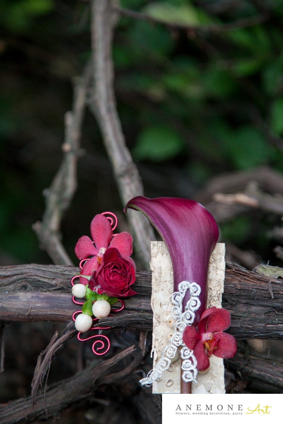 Poza, foto cu Flori de nunta calla, cocarda, rosu, vanda, visiniu in Arad, Timisoara, Oradea (wedding flowers, bouquets) nunta Arad, Timisoara, Oradea
