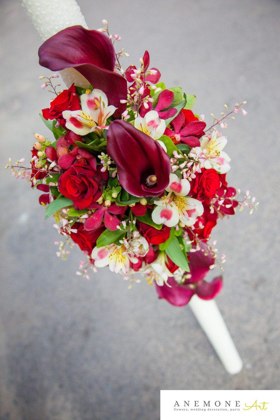 Poza, foto cu Flori de nunta calla, lumanare cununie, rosu, visiniu in Arad, Timisoara, Oradea (wedding flowers, bouquets) nunta Arad, Timisoara, Oradea