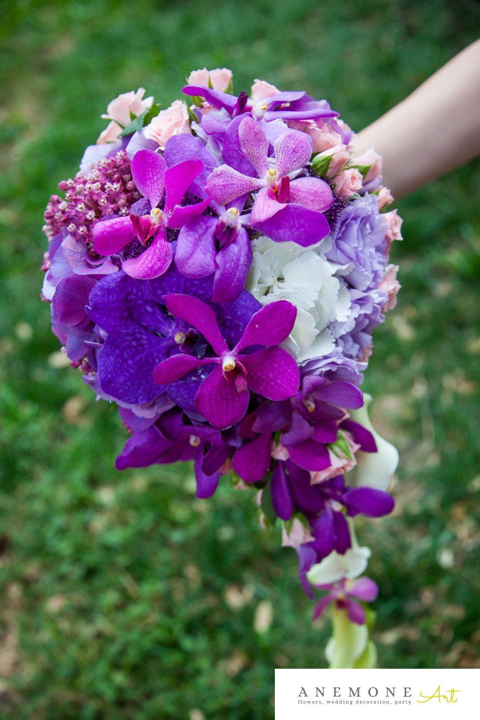 Poza, foto cu Flori de nunta buchet mireasa, mov, orhidee, ticlam, vanda in Arad, Timisoara, Oradea (wedding flowers, bouquets) nunta Arad, Timisoara, Oradea